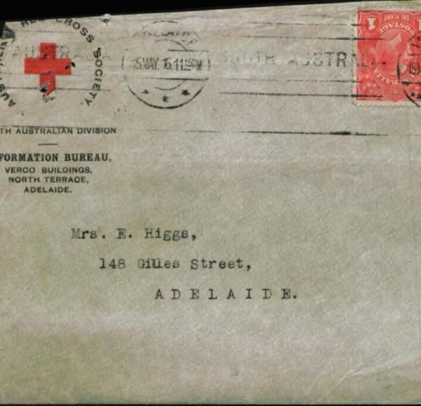 Red Cross envelope to Mrs E. Higgs