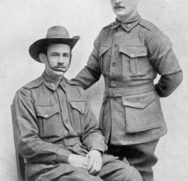 Escaped Prisoners of War 2954 Lance Corporal James William Pitts, 10th Battalion, and 68 Private Wesley Paul Choat, 32nd Battalion. Source: https://www.awm.gov.au/collection/P03236.156