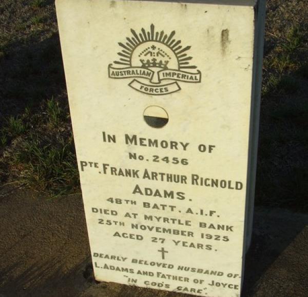 Frank Adams' headstone